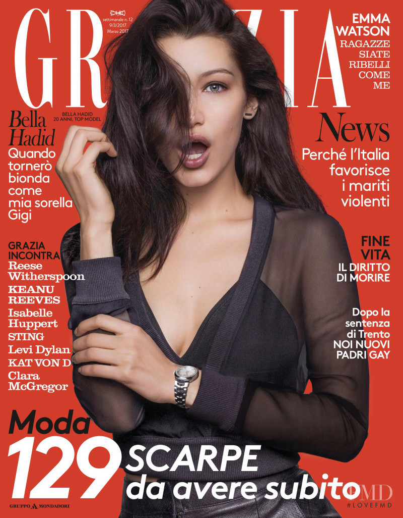 Bella Hadid featured on the Grazia Italy cover from March 2017