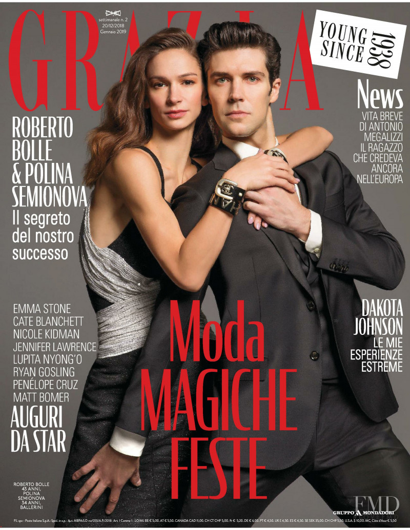 Roberto Bolle & Polina Semionova  featured on the Grazia Italy cover from December 2018