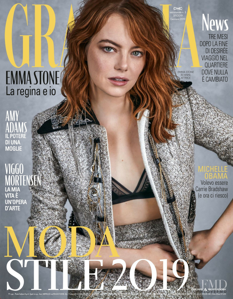 Emma Stone featured on the Grazia Italy cover from January 2019