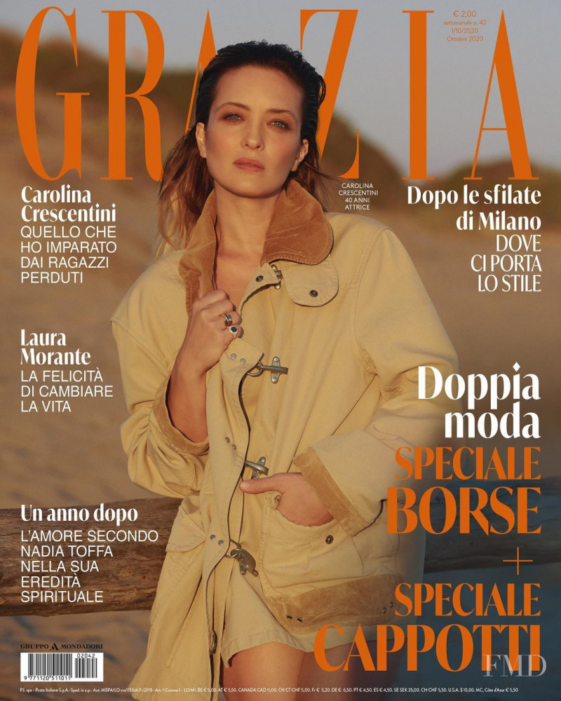 Carolina Crescentini featured on the Grazia Italy cover from October 2020