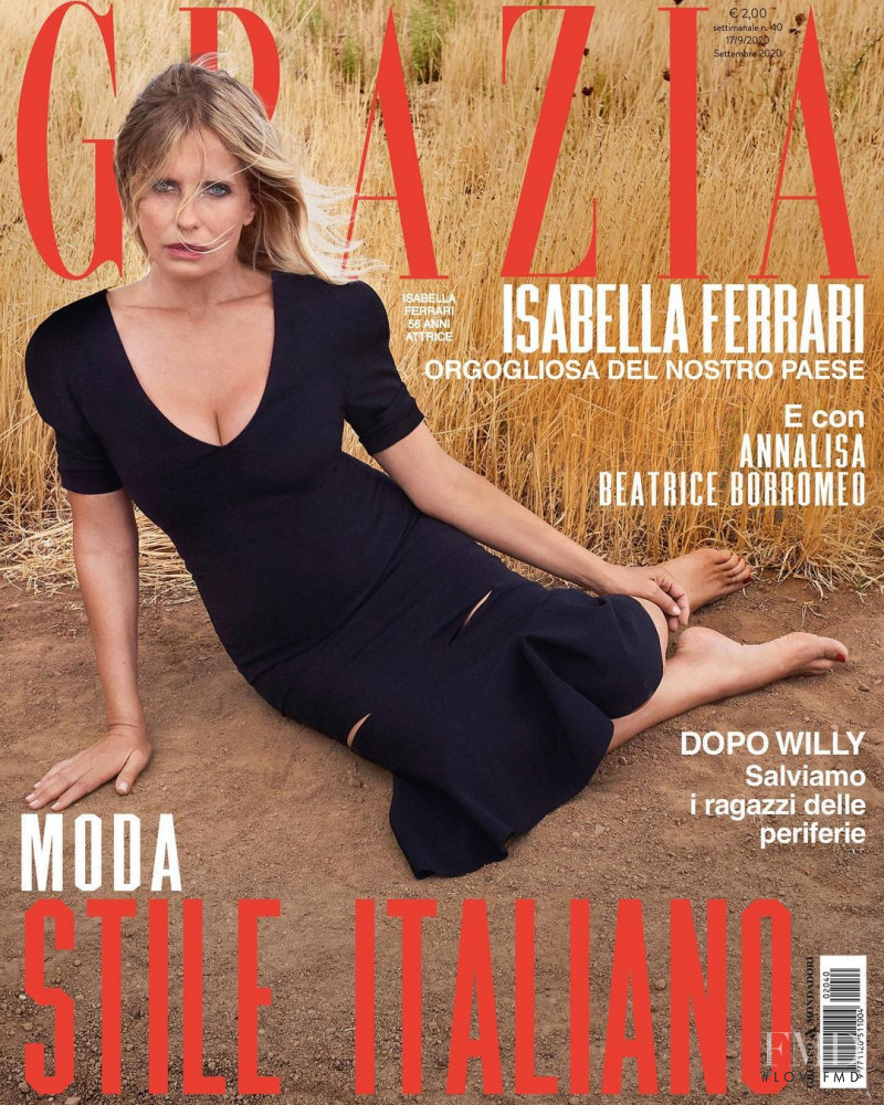 Isabella Ferrari featured on the Grazia Italy cover from September 2020