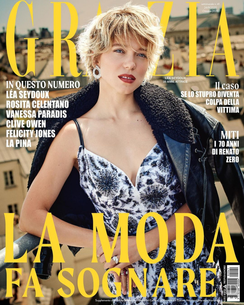 Lea Seydoux featured on the Grazia Italy cover from September 2020