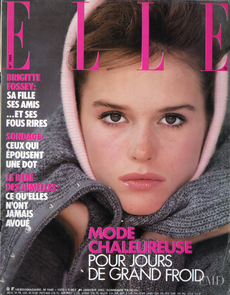 Jacki Adams featured on the Elle France cover from January 1983