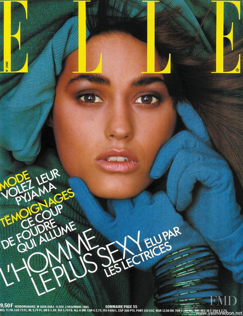 Yasmin Le Bon featured on the Elle France cover from December 1985
