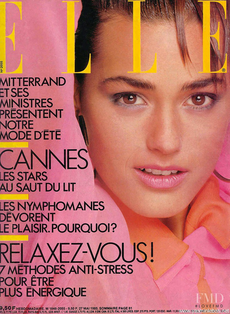 Yasmin Le Bon featured on the Elle France cover from May 1985