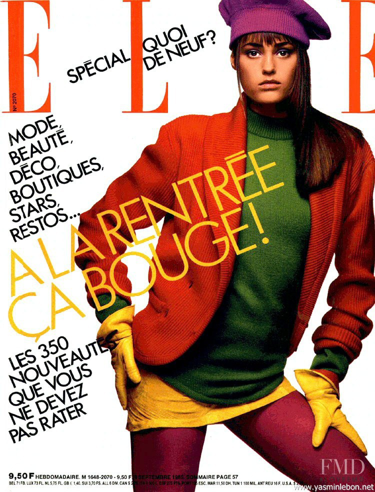 Yasmin Le Bon featured on the Elle France cover from September 1985