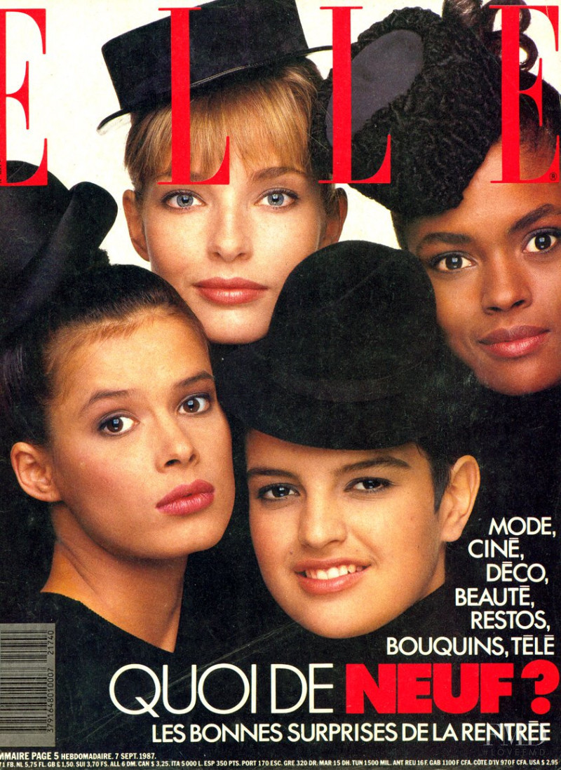 Jeanette Hallen featured on the Elle France cover from September 1987