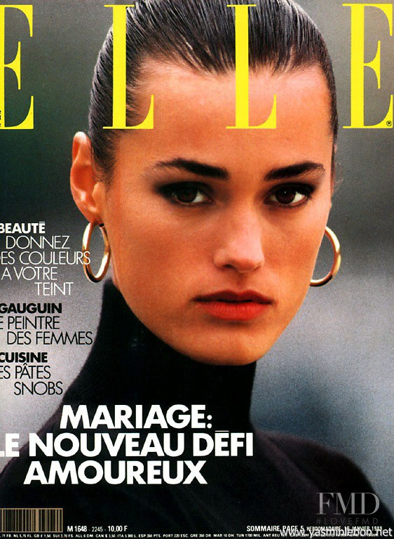 Yasmin Le Bon featured on the Elle France cover from February 1989