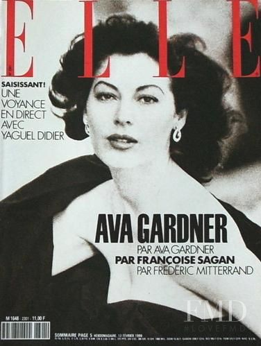Ava Gardner featured on the Elle France cover from February 1990