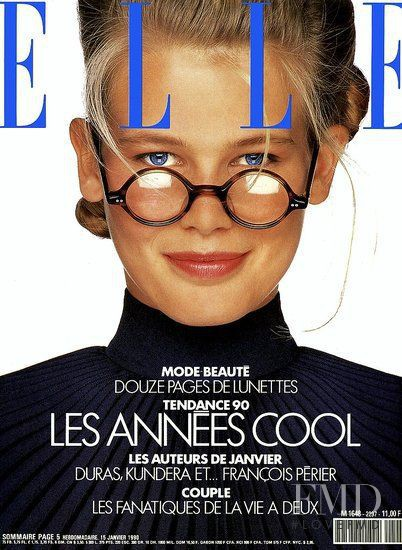 Claudia Schiffer featured on the Elle France cover from January 1990