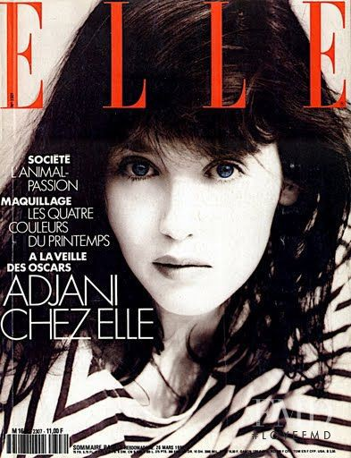 Isabelle Adjani featured on the Elle France cover from March 1990
