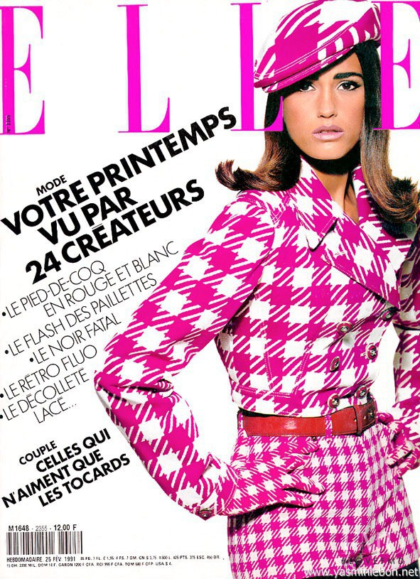 Yasmin Le Bon featured on the Elle France cover from February 1991