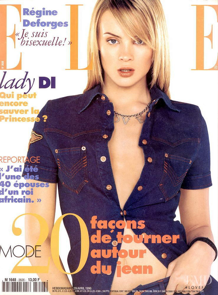Michelle Behennah featured on the Elle France cover from April 1996