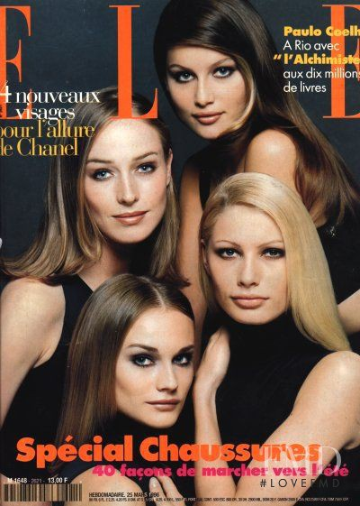 Diane Heidkruger, Kirsty Hume, Laetitia Casta, Mak Gilchrist featured on the Elle France cover from March 1996