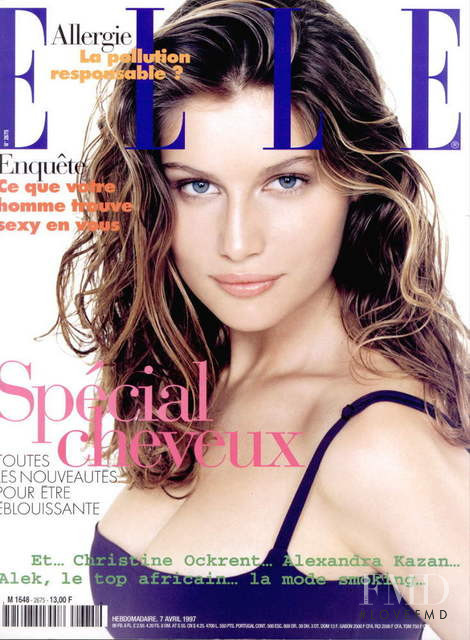 Laetitia Casta featured on the Elle France cover from April 1997