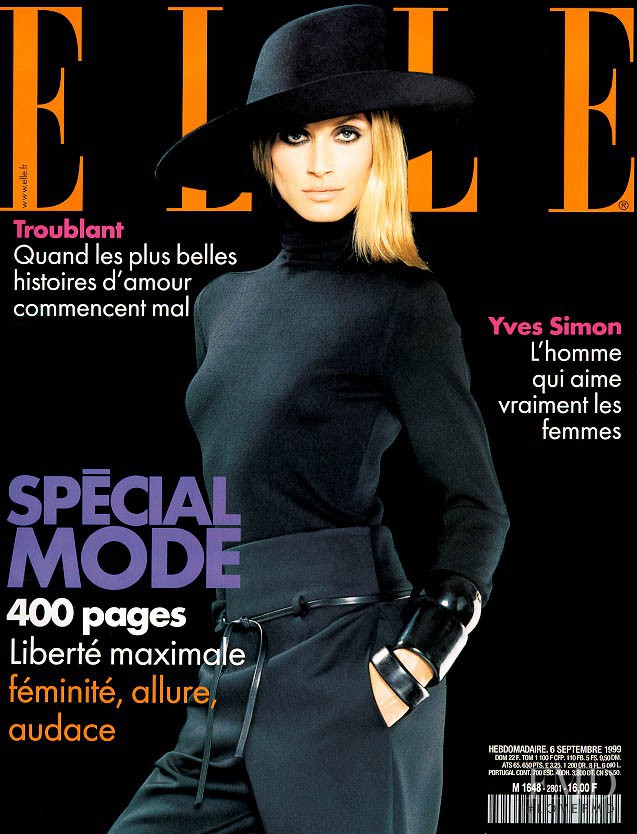 Ruza Madarevic featured on the Elle France cover from September 1999