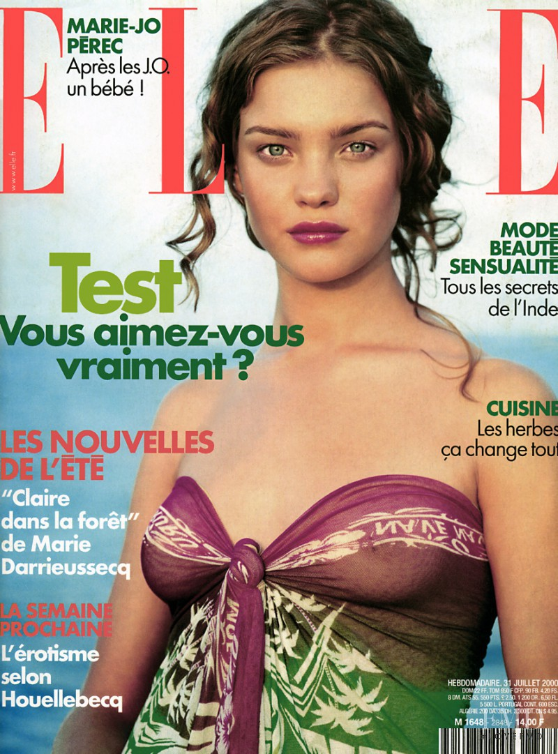 Natalia Vodianova featured on the Elle France cover from July 2000