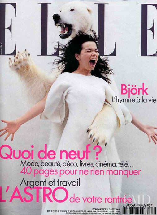 Björk featured on the Elle France cover from August 2001
