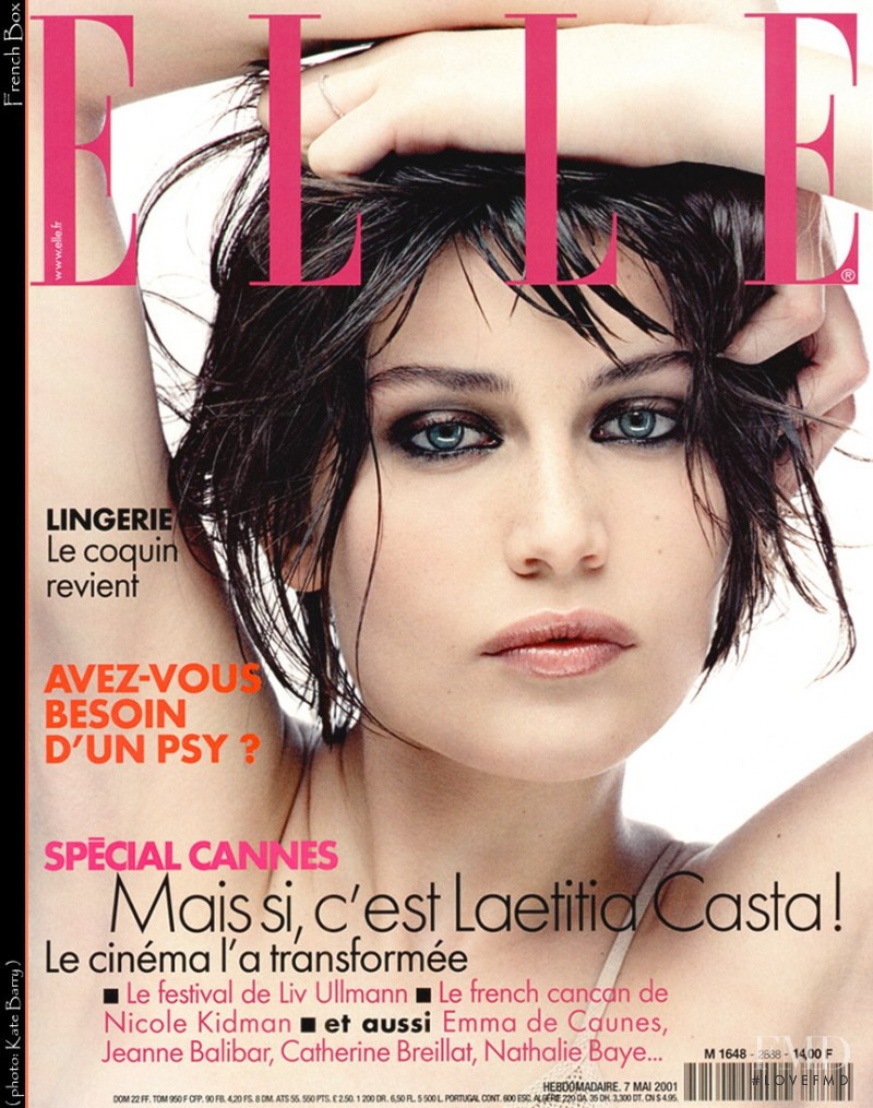 Laetitia Casta featured on the Elle France cover from May 2001