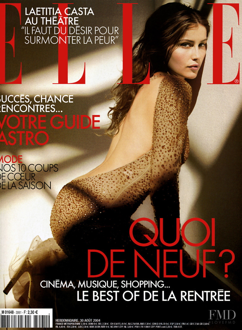 Laetitia Casta featured on the Elle France cover from August 2004