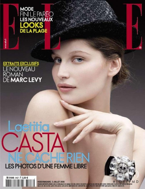 Laetitia Casta featured on the Elle France cover from July 2006