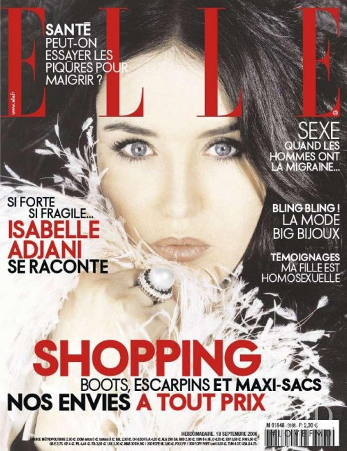 Isabelle Adjani featured on the Elle France cover from September 2006