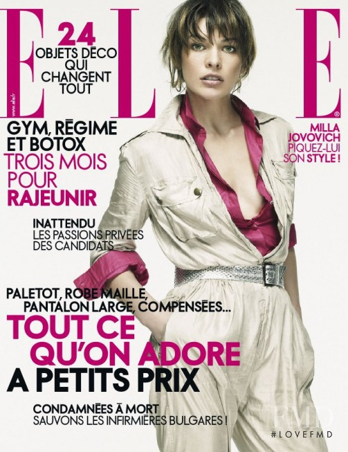 Milla Jovovich featured on the Elle France cover from April 2007