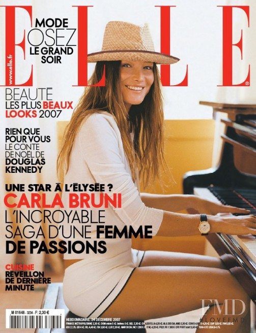 Carla Bruni featured on the Elle France cover from December 2007
