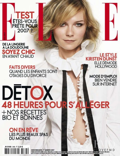 Kirsten Dunst featured on the Elle France cover from January 2007