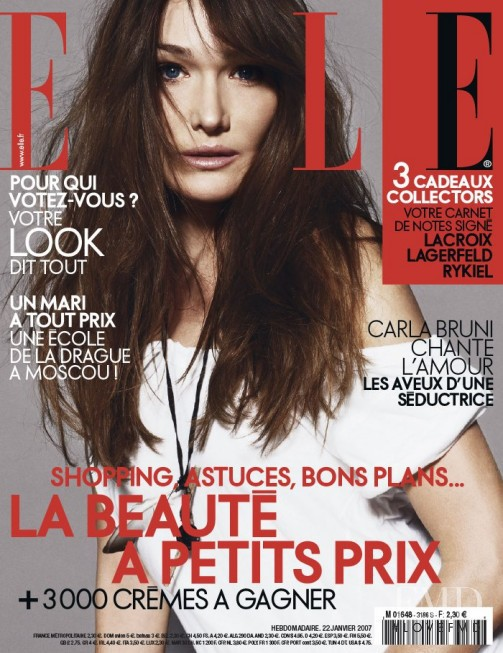 Carla Bruni featured on the Elle France cover from January 2007