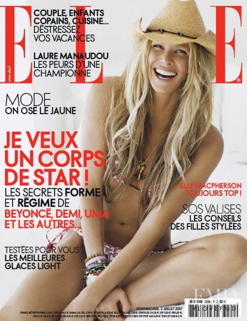 Elle Macpherson featured on the Elle France cover from July 2007