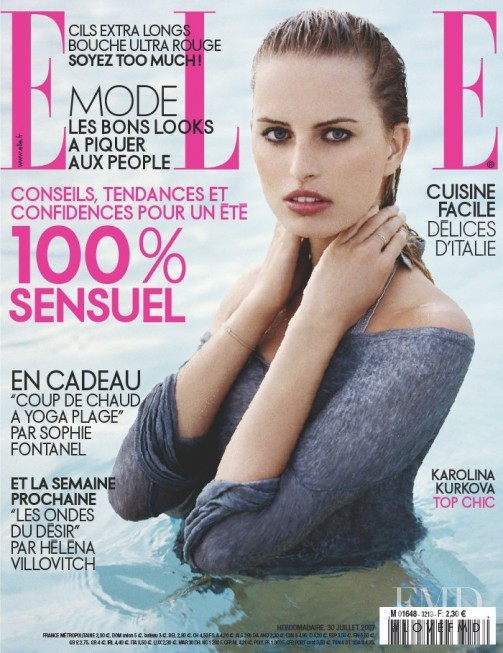 Karolina Kurkova featured on the Elle France cover from July 2007