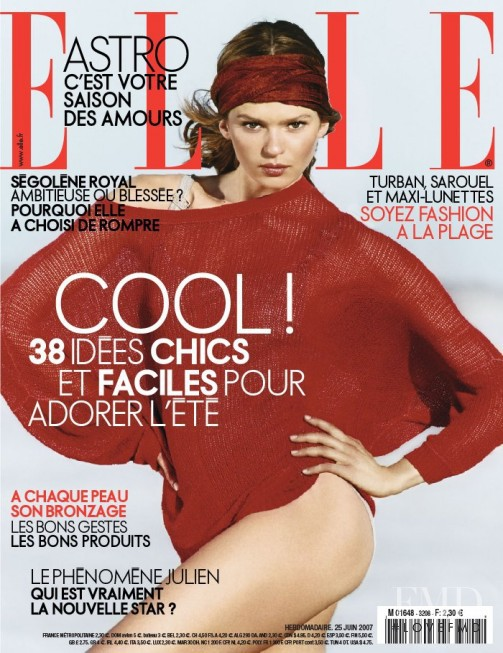 Elise Crombez featured on the Elle France cover from June 2007