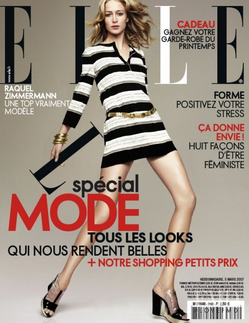 Raquel Zimmermann featured on the Elle France cover from March 2007