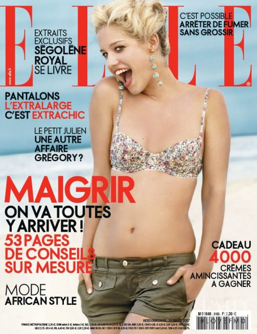 Julie Ordon featured on the Elle France cover from March 2007