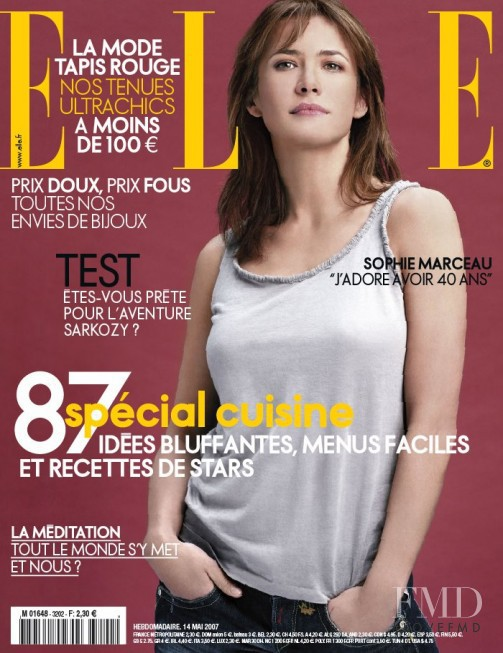 Sophie Marceau featured on the Elle France cover from May 2007