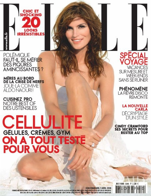 Cindy Crawford featured on the Elle France cover from April 2008