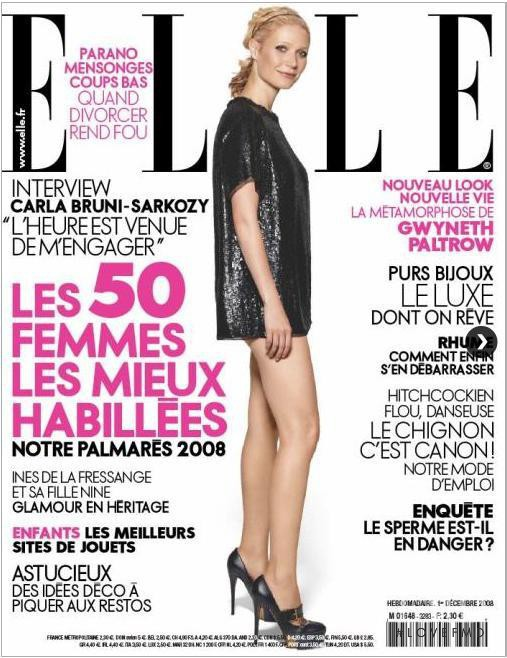 Gwyneth Paltrow featured on the Elle France cover from December 2008