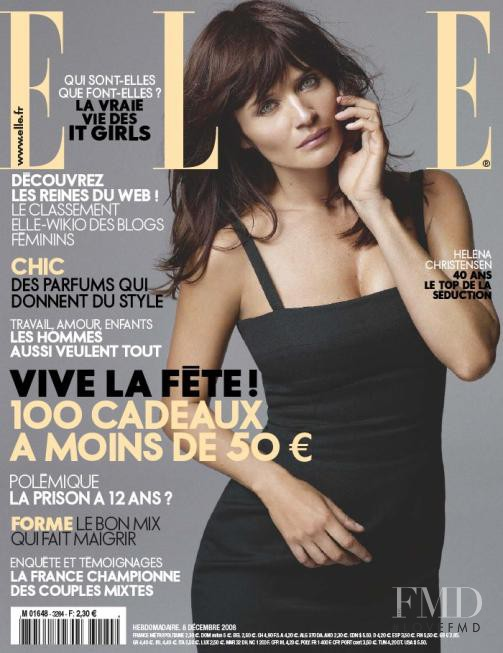 Helena Christensen featured on the Elle France cover from December 2008