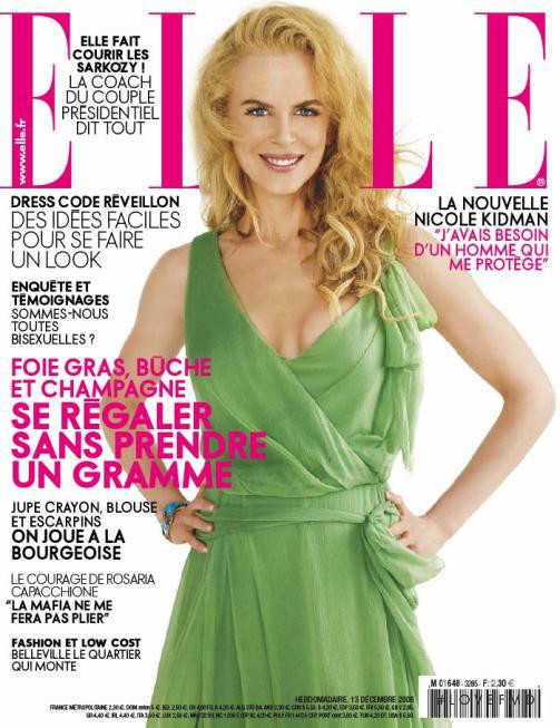 Nicole Kidman featured on the Elle France cover from December 2008