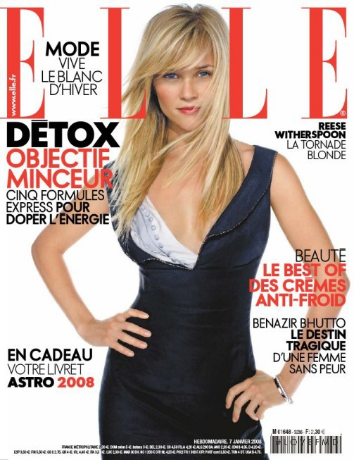 Reese Witherspoon featured on the Elle France cover from January 2008