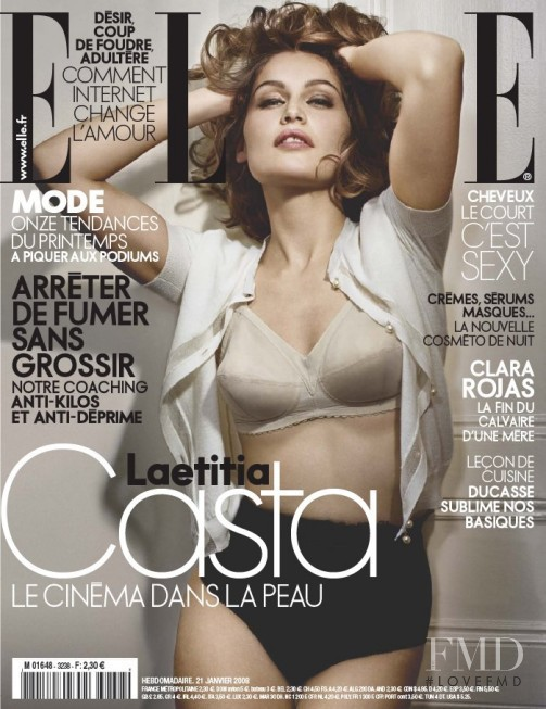 Laetitia Casta featured on the Elle France cover from January 2008