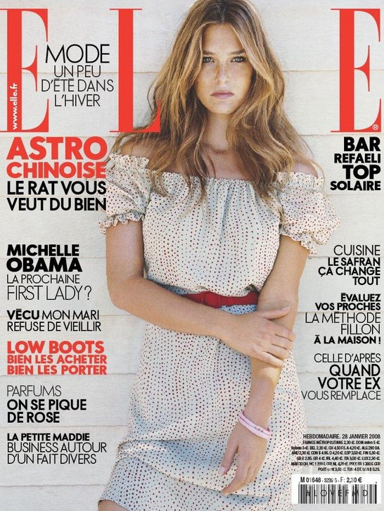 Bar Refaeli featured on the Elle France cover from January 2008