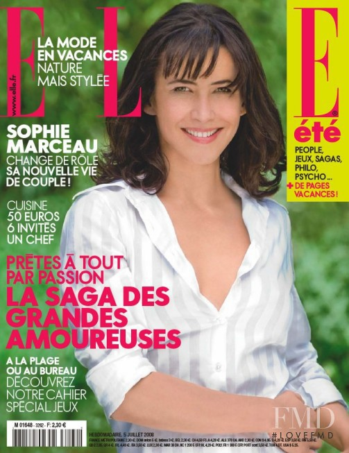 Sophie Marceau featured on the Elle France cover from July 2008