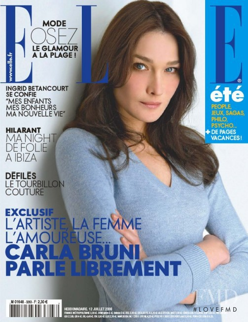 Carla Bruni featured on the Elle France cover from July 2008