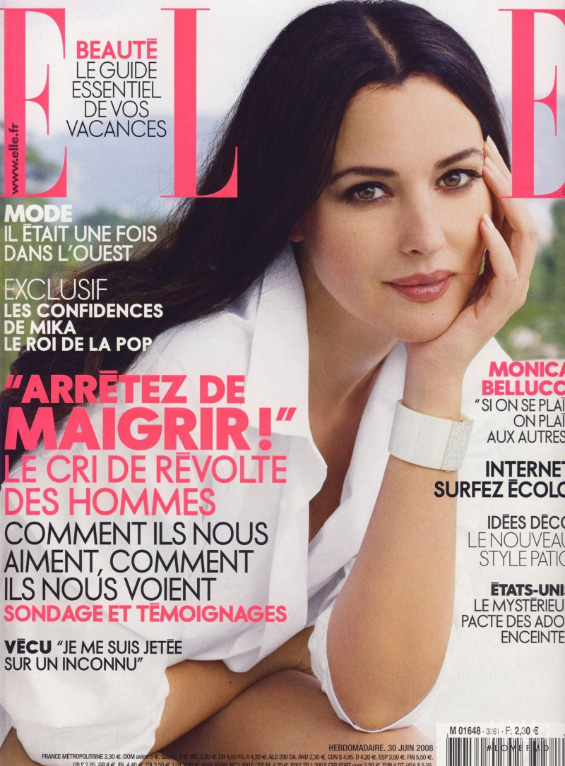 Monica Bellucci featured on the Elle France cover from June 2008