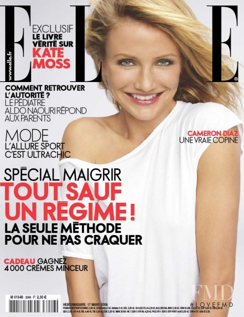 Cameron Diaz featured on the Elle France cover from March 2008