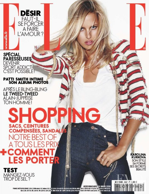 Karolina Kurkova featured on the Elle France cover from March 2008
