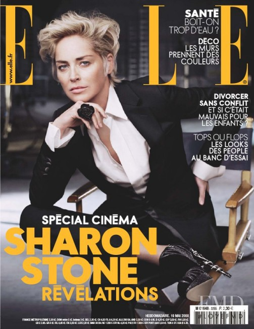 Sharon Stone featured on the Elle France cover from May 2008