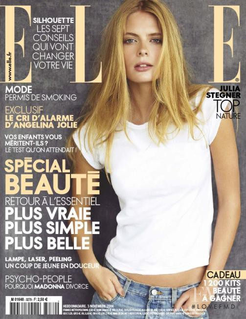 Julia Stegner featured on the Elle France cover from November 2008